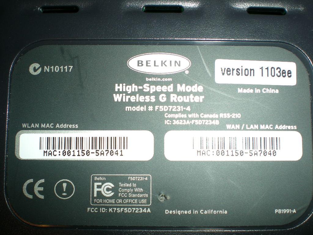 Belkin F5D7231-4 Router Driver