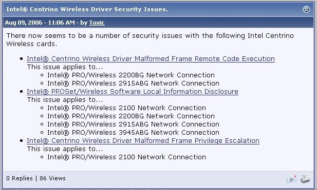 Intel pro network connection driver