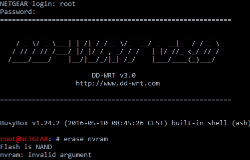 DD-WRT Forum :: View topic - Help on nvram erase
