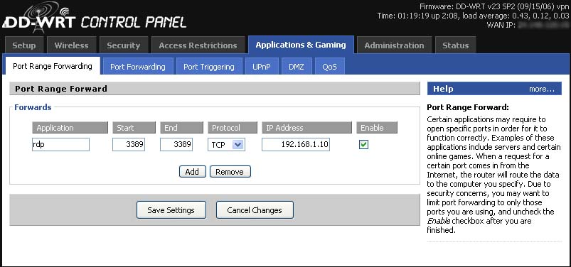 DD-WRT Forum :: View topic - RDP Not Port Forwarding - Am I