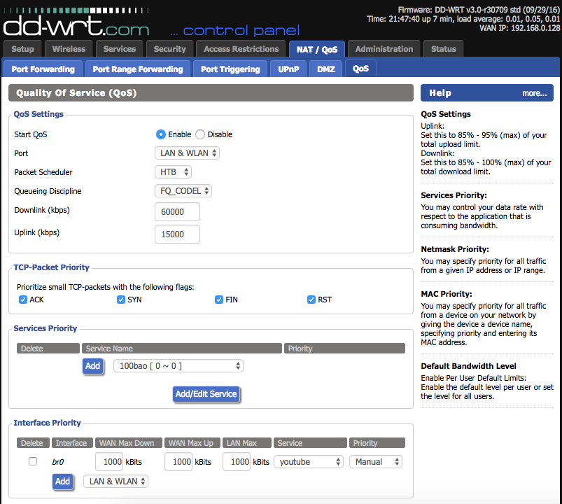 DD-WRT Forum :: View topic - Help with QoS: service priority