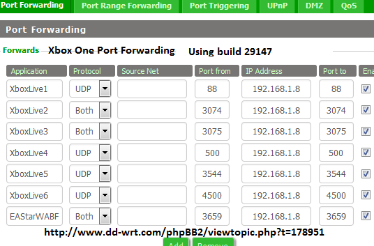 DD-WRT Forum :: View topic - Xbox One is not port forwarding
